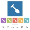 Shovel flat white icons in square backgrounds. 6 bonus icons included. - Shovel flat white icons in square backgrounds
