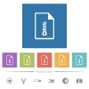 Compressed document flat white icons in square backgrounds - Compressed document flat white icons in square backgrounds. 6 bonus icons included.