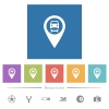 Car service GPS map location flat white icons in square backgrounds. 6 bonus icons included. - Car service GPS map location flat white icons in square backgrounds