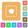 Drag item rounded square flat icons - Drag item flat icons on rounded square vivid color backgrounds.
