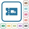 Transport discount coupon simple icons - Transport discount coupon simple icons in color rounded square frames on white background
