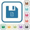File properties simple icons - File properties simple icons in color rounded square frames on white background