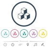 Cubes flat color icons in round outlines. 6 bonus icons included. - Cubes flat color icons in round outlines