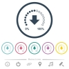 Download in progress flat color icons in round outlines. 6 bonus icons included. - Download in progress flat color icons in round outlines
