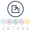 Export with inner arrow flat color icons in round outlines. 6 bonus icons included. - Export with inner arrow flat color icons in round outlines