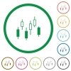 Candlestick chart flat icons with outlines - Candlestick chart flat color icons in round outlines on white background