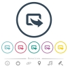 Export symbol with bottom right arrow flat color icons in round outlines. 6 bonus icons included. - Export symbol with bottom right arrow flat color icons in round outlines
