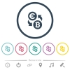 Euro Bitcoin money exchange flat color icons in round outlines. 6 bonus icons included. - Euro Bitcoin money exchange flat color icons in round outlines