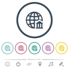 Internet banking flat color icons in round outlines. 6 bonus icons included. - Internet banking flat color icons in round outlines
