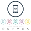 Mobile scripting flat color icons in round outlines - Mobile scripting flat color icons in round outlines. 6 bonus icons included.