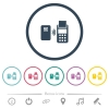 Contactless payment flat color icons in round outlines - Contactless payment flat color icons in round outlines. 6 bonus icons included.