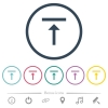 Vertical align top flat color icons in round outlines - Vertical align top flat color icons in round outlines. 6 bonus icons included.
