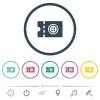 Tailor shop discount coupon flat color icons in round outlines - Tailor shop discount coupon flat color icons in round outlines. 6 bonus icons included.