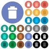Single trash round flat multi colored icons - Single trash multi colored flat icons on round backgrounds. Included white, light and dark icon variations for hover and active status effects, and bonus shades.