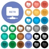FTP retrieve file round flat multi colored icons - FTP retrieve file multi colored flat icons on round backgrounds. Included white, light and dark icon variations for hover and active status effects, and bonus shades.