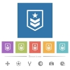 Military rank flat white icons in square backgrounds - Military rank flat white icons in square backgrounds. 6 bonus icons included.