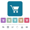 Empty shopping cart white flat icons on color rounded square backgrounds. 6 bonus icons included - Empty shopping cart flat icons on color rounded square backgrounds