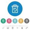 Undelete flat round icons - Undelete flat white icons on round color backgrounds. 6 bonus icons included.