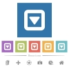 Toggle down flat white icons in square backgrounds - Toggle down flat white icons in square backgrounds. 6 bonus icons included.