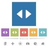 Horizontal control arrows flat white icons in square backgrounds - Horizontal control arrows flat white icons in square backgrounds. 6 bonus icons included.