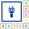 Air control tower flat framed icons - Air control tower flat color icons in square frames on white background