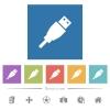 USB plug flat white icons in square backgrounds - USB plug flat white icons in square backgrounds. 6 bonus icons included.