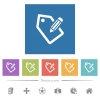 Tagging with pencil flat white icons in square backgrounds - Tagging with pencil flat white icons in square backgrounds. 6 bonus icons included.