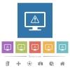 Display warning flat white icons in square backgrounds - Display warning flat white icons in square backgrounds. 6 bonus icons included.