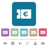 Euro discount coupon flat icons on color rounded square backgrounds - Euro discount coupon white flat icons on color rounded square backgrounds. 6 bonus icons included