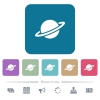Planet flat icons on color rounded square backgrounds - Planet white flat icons on color rounded square backgrounds. 6 bonus icons included
