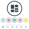 Dashboard tools flat color icons in round outlines - Dashboard tools flat color icons in round outlines. 6 bonus icons included.