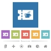 Coffee house discount coupon flat white icons in square backgrounds - Coffee house discount coupon flat white icons in square backgrounds. 6 bonus icons included.