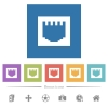 Ethernet connector flat white icons in square backgrounds - Ethernet connector flat white icons in square backgrounds. 6 bonus icons included.
