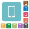 Modern mobile phone with one button rounded square flat icons - Modern mobile phone with one button white flat icons on color rounded square backgrounds