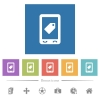 Mobile label flat white icons in square backgrounds - Mobile label flat white icons in square backgrounds. 6 bonus icons included.