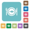 Fish for lunch rounded square flat icons - Fish for lunch white flat icons on color rounded square backgrounds