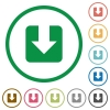 Download flat icons with outlines - Download flat color icons in round outlines on white background
