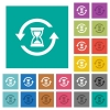 Reload symbol with sandglass square flat multi colored icons - Reload symbol with sandglass multi colored flat icons on plain square backgrounds. Included white and darker icon variations for hover or active effects.