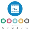 FLC movie format flat round icons - FLC movie format flat white icons on round color backgrounds. 6 bonus icons included.