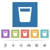Drink flat white icons in square backgrounds - Drink flat white icons in square backgrounds. 6 bonus icons included.