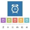 Alarm clock flat white icons in square backgrounds - Alarm clock flat white icons in square backgrounds. 6 bonus icons included.