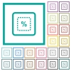 Scale object by percent flat color icons with quadrant frames - Scale object by percent flat color icons with quadrant frames on white background