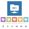 FTP Processing flat white icons in square backgrounds - FTP Processing flat white icons in square backgrounds. 6 bonus icons included.