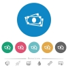 More banknotes flat round icons - More banknotes flat white icons on round color backgrounds. 6 bonus icons included.
