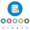 Select database table row flat round icons - Select database table row flat white icons on round color backgrounds. 6 bonus icons included.