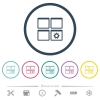 Dashboard settings flat color icons in round outlines - Dashboard settings flat color icons in round outlines. 6 bonus icons included.