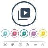 Video library flat color icons in round outlines. 6 bonus icons included. - Video library flat color icons in round outlines