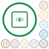 Preview object flat icons with outlines - Preview object flat color icons in round outlines on white background