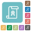Scroll with certificate rounded square flat icons - Scroll with certificate white flat icons on color rounded square backgrounds