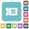 Hi-fi shop discount coupon rounded square flat icons - Hi-fi shop discount coupon white flat icons on color rounded square backgrounds